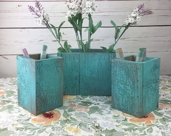 Set of 3 Wooden Aqua Blue Vases / Pencil Holders Hand Painted with World Map Stamp Distressed Wedding