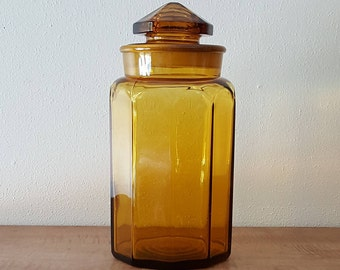 Vintage Amber Glass Apothecary Jar~Clear Glass Canister Jar with Ground Glass Lid~Amber Canister Jar  by LE Smith