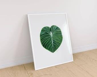 Tropical leaf wall art, Pencil drawing, Art prints, Fine art prints, Modern Wall Art, Prints illustrations, Printable artwork, Wall decor,