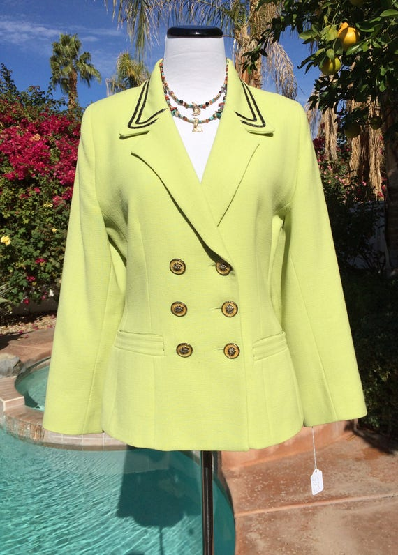 Vertigo of Paris  90's Beautiful Chartreuse Wool Jacket with Lion Head Enamel Buttons,Size Medium,Made in France.
