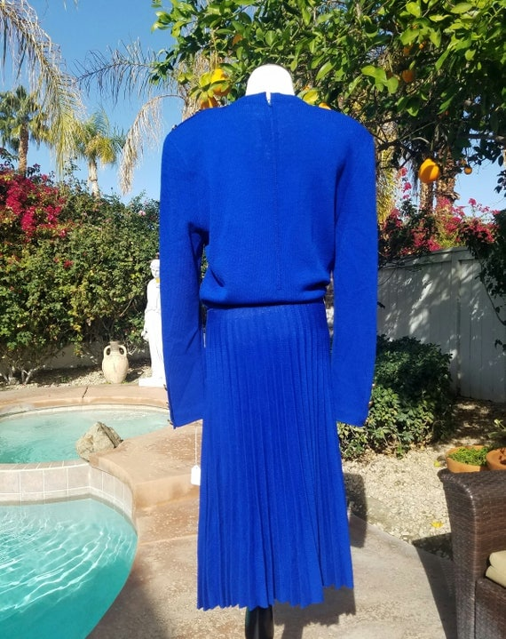 Gorgeous St. John Cobalt Blue Knit Dress with Pleated Skirt.