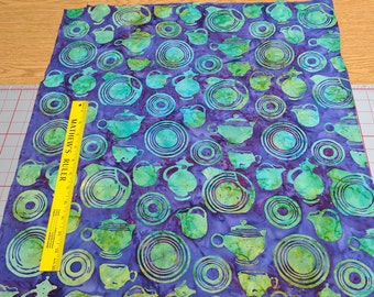 Green Tea Set on Purple Batik Cotton Fabric