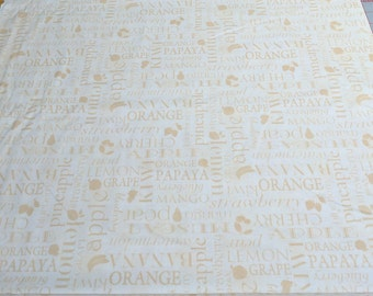 Food Words on Cotton Fabric
