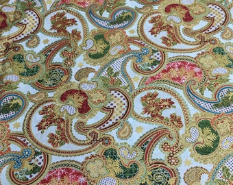 Winter Elegance-Medium Red Paisley Cotton Fabric from In the Beginning