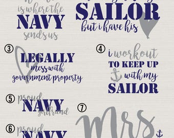 Navy Wife // Navy Girlfriend // Sailor // Sailormen // Decal // Vinyl // Navy // Workout // Government Property // Home