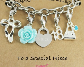 Happy 18th Birthday Rose Lucky Charm Bracelet Gift for Sister, Niece, Special Friend.