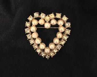Vintage Richelieu Heart Brooch, Rhinestones, Faux Pearls