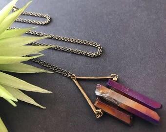Purple Titanium Quartz Necklace // Unique Long Necklace // Raw Stone Necklace // Long Edgy Necklace // Purple Stone Necklace // Modern