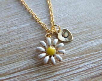 Daisy Flower Necklace, Personalized Hand Stamped Initial Birthstone Necklace, Monogram, Keepsake