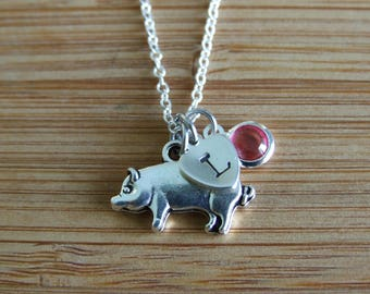 Piggy Necklace, Heart Sterling Silver Necklace, Meaningful Gift, Farm Animal Lovers Necklace, October Birthstone,Personalized, Gift under 20