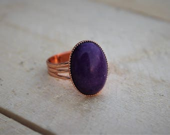 Purple Stone Ring ; Copper Plated Brass ; Purple Mountain Jade Gemstone Ring