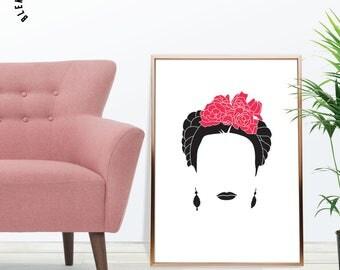 Frida Kahlo Print, Illustration, Minimalist Design, Frida Kahlo Art Poster, Printable Frida Kahlo Decor, Wall Art, Silhouette Art