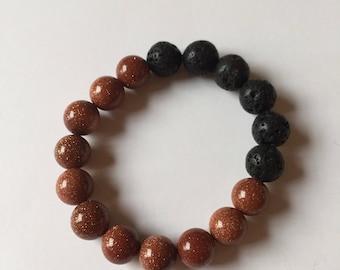 Goldstone and lava stone, essential oil diffuser bracelet