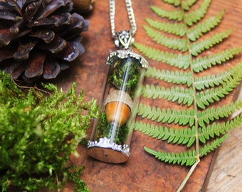 Terrarium pendant, botanical pendant, real acorn necklace, real moss jewelry, nature inspired, glass locket, strega fashion