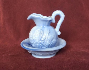 Avon May 1978 Blue Water Pitcher and Bowl ~ Pitcher and Basin Set ~ Blue Marble Water Pitcher and Bowl