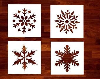 Snowflakes - Set of 4 Custom Stencil