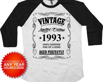 Funny Birthday T Shirt 25th Birthday Gift Ideas Custom Year Personalized TShirt Vintage 1993 Birthday Aged Perfectly Baseball Tee - BG379