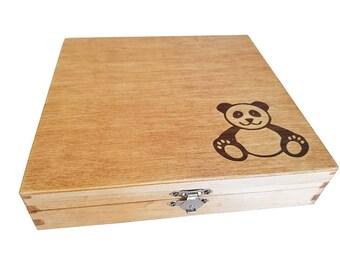 Panda Walnut Inlay Keepsake Box - Panda Gift - Panda Bear - Wedding - Baby Shower