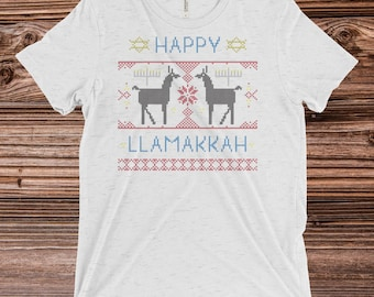 Happy Llamakkah // Hanukkah Mens // Chanukkah Mens // Llama Mens Tshirt // Mens Tshirt // Funny Mens Shirt // Jewish Shirt