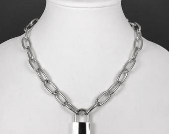 Chain Link Padlock Necklace with Functioning Lock and Key