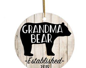 Grandma Ornament, Grandma Bear, Custom Ornament, Christmas Ornament, Gift for Grandma , Christmas Gift for Grandma , New Grandma Gift