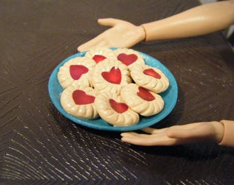 1:6 Scale Food - Valentine Thumbprint Cookies - for Barbie Momoko, Blythe, Pullip, Fashion Royalty and other dolls - OOAK