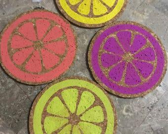 Set of 4 Citrus cork coasters, hand painted cork coasters