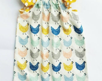 Organic Cotton, Chicken Print Dress, Baby girl dress, Toddler Dresses, Girls Clothing, Boutique Clothing,