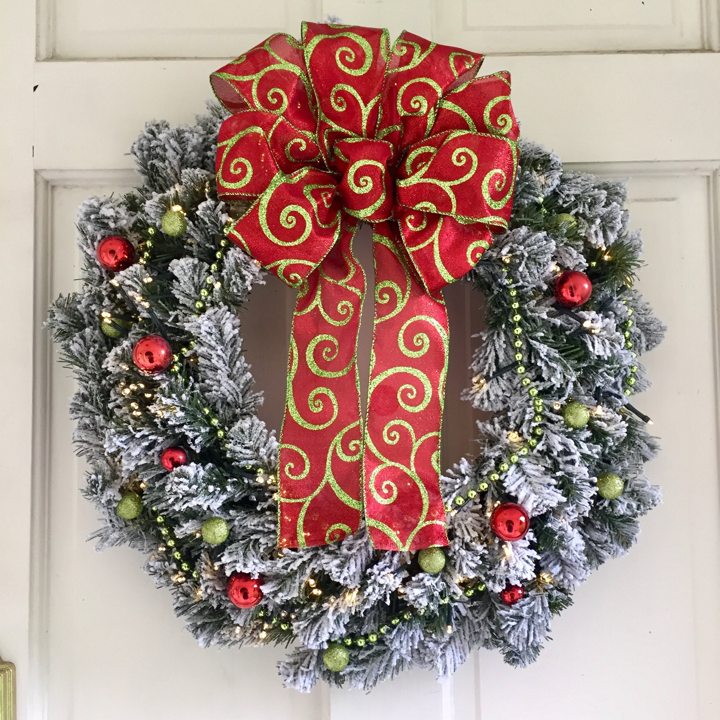 lighted christmas wreath faux pine wreath wlime green garland redlime green ornaments bow christmas ornament wreath 24 inch - Lighted Christmas Ornaments