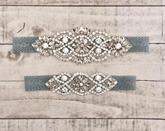 Something Blue Bridal Garter, NO SLIP Lace Wedding Garter Set, bridal garter set, vintage rhinestones, pearl and rhinestone garter set