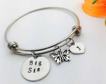 Bangle bracelet, charms, adjustable bracelet, Custom metal jewelry, lady's jewelry, Big Sis, middle sis, little sis
