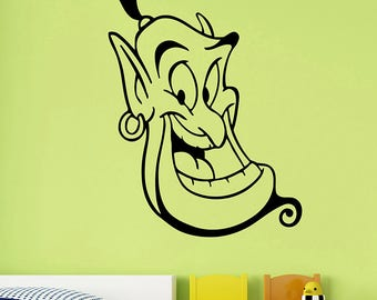Aladdin Genie Vinyl Decal Disney Wall Sticker Cartoon Fantasy Film Art Fairy Tale Decorations for Home Kids Children's Room Decor allad9