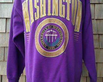 Vintage 80s Washington Huskies Sweatshirt - Medium / Large - University UW