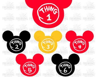 Thing 1 svg, Thing 2 svg,Thing 3 - Dr Seuss SVG, svg file for cricut, svg files for silhouette, Mickey Ears svg, Birthday