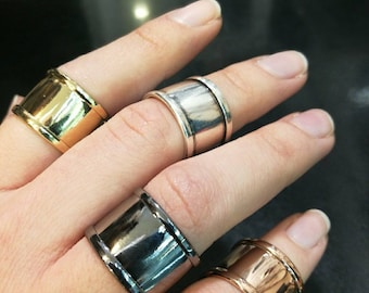 Wide Stable Rings in Silver, Gold, Rose Gold, Black and Antique Silver