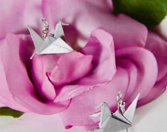 Origami Crane Earrings - Silver
