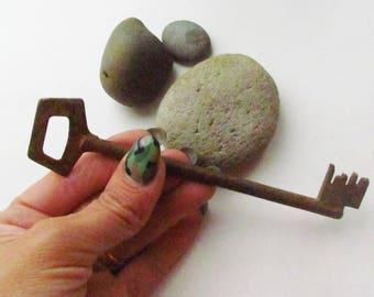 Rustic home decor Vintage key Antique Skeleton Key Old Key antique key farmhouse key Big Key Large key 1900 old patina