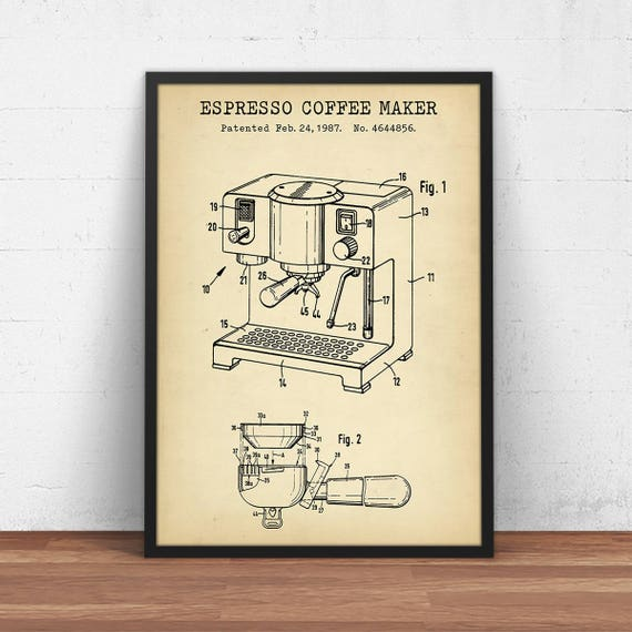Espresso coffee maker patent print digital download blueprint espresso coffee maker patent print digital download blueprint art kitchen wall art coffee poster printable cafe decor coffee lover gifts malvernweather Choice Image