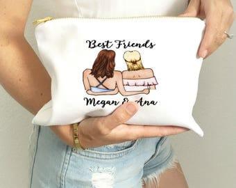 Best Friend Makeup Bag | Best Friend Gift | Personalized Makeup Bag | Custom Make Up Bag | Personalized Make Up | Cosmetic Bag | BFF