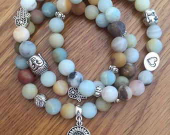Amazonite bracelet trio