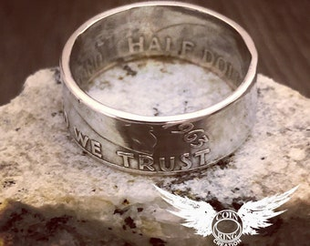 Benjamin Franklin half dollar silver coin ring 1948 to 1963