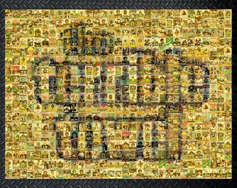 Pittsburgh Steelers Terrible Towel Mosaic Art Wall Decal made of over 250 Player Cards.  All the Great Past and Present Stars Included.