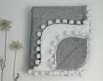 Gray Knit Pom Blanket, White Flannel Pom Pom Blanket, Gender Neutral Blanket, Pom Pom Baby Blanket, Knit Blanket, Gray Blanket