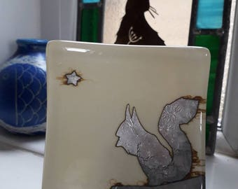 Squirrel. Fused glass dish with a squirrel. Sterling silver foil. Stars. Vanilla. Trinket dish, tealight holder Soap dish