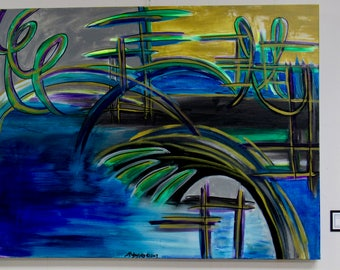 """Large Abstract Painting """"Boardwalk"""""""