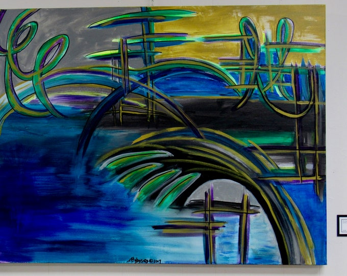 "Large Abstract Painting ""Boardwalk"""