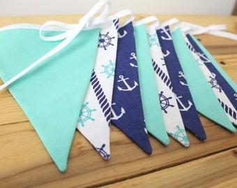 Sea Fabric Bunting Banner, Blue, Mint, Nursery Decor, Bridal Shower Decor, Baby Shower Decor, Photo Prop, Fabric Pennant Flags, Beach Party