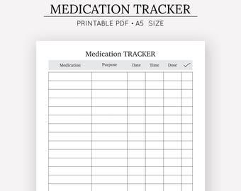 Medication Tracker   Medication Chart   A5 Insert   A5 Planner   Digital Download   Medical Journal  Medication Chart   Medication Log