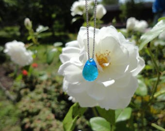 Mermaid tear drop, glass blue and Silver 925 necklace
