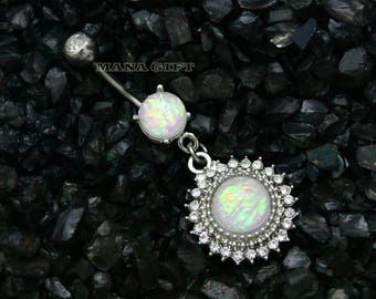 Crystal Paved Shield Dangle Belly Button Ring, Opal Shield Dangle Navel Ring, White Opal, BUHBJ 23